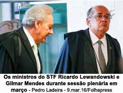 Lewandowski e Gilmar, do Supremo Tribunal Federal -  Foto: Pedro Ladeira / 9.mar.2016 / Folhapress